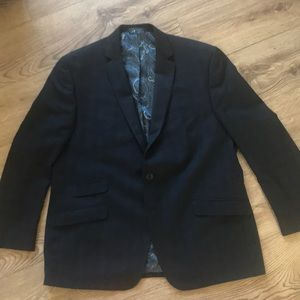 Navy Blue patterned sports coat. Never worn.